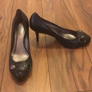 Coach black heels with silver embellishment